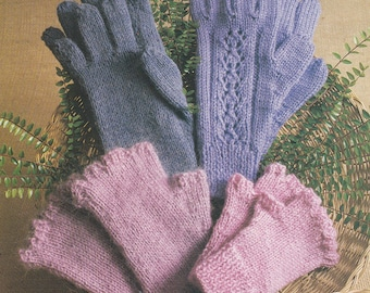 PDF fingerless gloves vintage knitting pattern lady's gloves mittens INSTANT download pattern only pdf three sizes