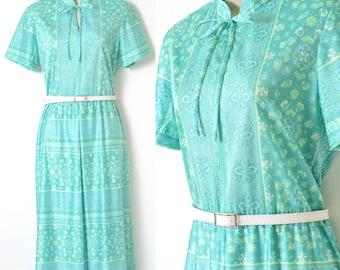 60s Dress, Vintage Turquoise Dress, Vintage blue Dress, 60s Turquoise dress, bow tie dress, Vintage Floral Dress, Blue Summer Dress - M/L