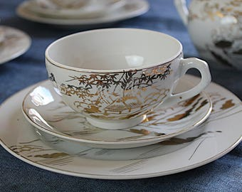 Japanese Gilded Porcelain Trio Hand painted