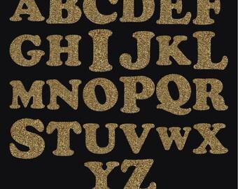 Gold glitter Clipart - Gold Alphabet - Gold Glitter Letters -  Printable Gold Clip art (GGC1)