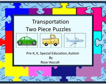 Teaching Materials, Instant Printable, Home School Transportation Two Piece Puzzles Pre-K, K, Special Education, Autism
