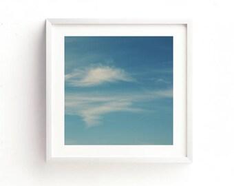 cloud photography, cloud print, blue decor, boys room decor, baby nursery printable, sky photo, downloadable kids room art