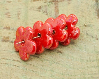 ceramic beads x 4 red iridescent 26mm