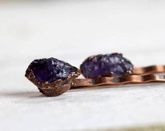 Stone Bobby Pin - Amethyst Hair Pin - Crystal Hair Pin - Purple Crystal - Bridal Hair Accessory