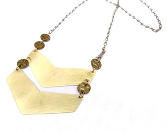 Large Brass Chevron Necklace (N58)