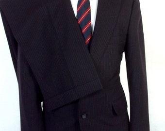 vtg Norman Hilton euc Navy Blue Pinstripe Canvassed Wool Men's 2 Pc Suit sz 39 S