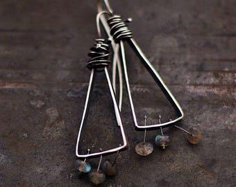 labradorite earrings • oxidized 925 sterling silver • triangle earrings • simple everyday earrings