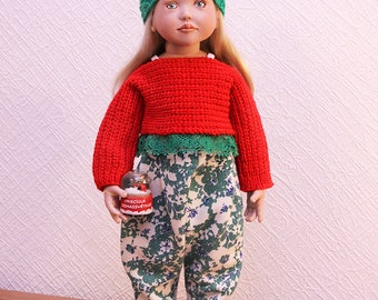 Christmas outfit for Maru and Friends, Gotz, American Girl, Zwergnase, Kidz'n'Cats and other 18'' dolls FREE shipping