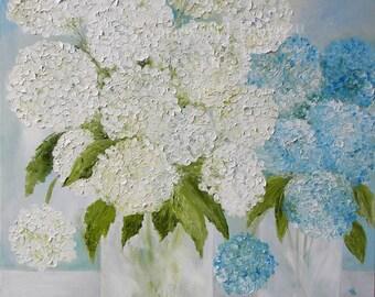 Original Blue and White Hydrangea Impasto Oil Painting, Fine Art Oil Painting, Hydrangeas, Wedding, Home Decor, Fine Art