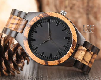Engraved Wood Watch, Black Wooden Watch, Watch for men, Personalized men Watch, Personalized Watches for him