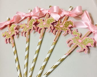 Carousel Party Straws, Carousel Party, Carousel Favors, Carousel Theme, Carousel Baby Shower, Girls Birthday,