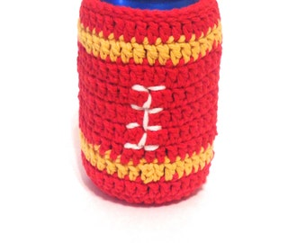 Team Colored Football Crocheted Can Cover- Red And Gold
