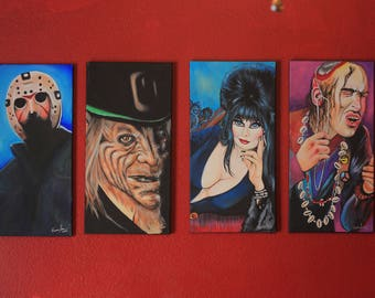 SET OF FOUR Horror Icon 12x24 inch raised canvas paintings