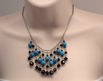 Blue & Black Charm Necklace, Bold Blue Charm Necklace, Black Charm Dangle Necklace, Blue Necklace, Black Necklace, Party Necklace (N554)