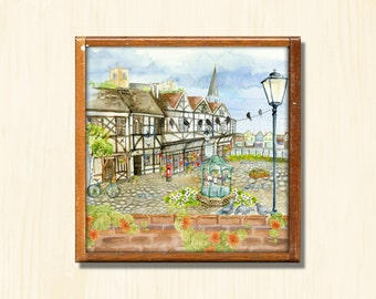 English Town 2 - Instant Downloadable Art Print Digital Wall Art Printable English Scene Art Home Decor