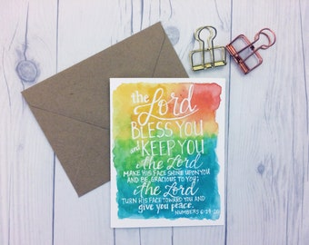 Numbers 6:24-26 | The Lord Bless You | Birthday | Baptism | Friendship | Thank You | Just Because | Christian Greeting Card