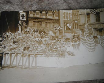 Vintage RPPC - Real Photo Postcard - Red Cross Parade Float - Patriotic - NYC - A. Schulte Cigars