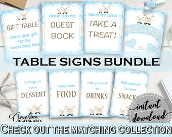 Baby Shower Little Lamb TABLE SIGNS Boy printable blue theme, sheep table signs pack set, digital files, Jpg Pdf, instant download - fa001