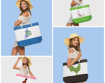 Sale-Nautical Totes, canvas and rope. Eight colors, Fashionable and roomy. Gifting for the women in your life.