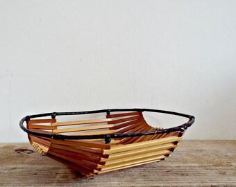 FRUIT BASKET wooden storage egg basket flower basket wooden sticks fruit bowl farmhouse decor bamboo basket countryside fruit serving