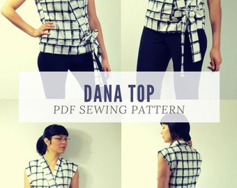 DANA TOP PDF sewing pattern and sewing tutorial for women.  Woven printable sewing top for women sizes 4 to 22 including plus size pattern