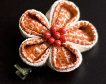 Orange, Ivory Upcycled Silk Tsunami Kanzashi Flower Hairclip, Casual, Chirimen, Shibori, Summer, CLEARANCE