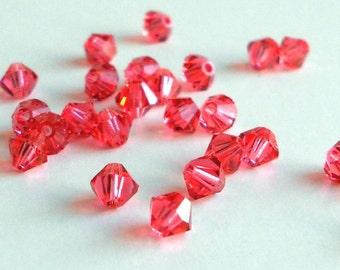 4mm Padparadscha Swarovski bicone beads (x24)
