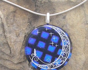 Moon Pendant Stars and Moon Dichroic Fused Glass Necklace