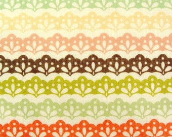 Fabric by the Yard Moda Fabric Fig Tree Mirabelle Cotton Quilting Fabric Stripe Peach Coral Green Brown Cute Girl