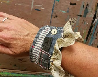 Upcycled funky. Punk. Alternative. Cuff. Accessories. Textile