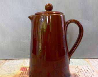 Vintage Denby Bourne Stoneware Coffee Pot Chestnut Brown Kitchenalia