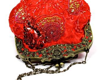 Red Bridal Clutch, Red Satin Crystal Bridal Clutch, Red Wedding Purse, Bridesmaid Clutch, Red Satin Crystal Evening Bag