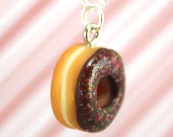 chocolate doughnut necklace kawaii polymer clay charms miniature food jewelry polymer clay food necklace chocolate donut necklace charm