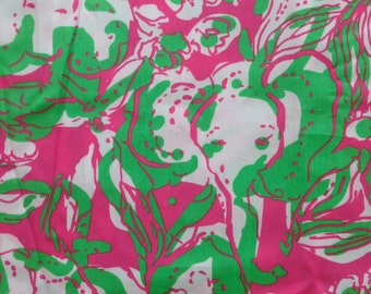 "hotty pink forgot my trunks poplin cotton fabric square 18""x18"" ~ lilly pulitzer"