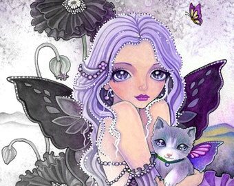 Poppy Night Adventure -Grayscale Digital Stamp  - PRINTABLE Instant Download / Cat Fairy Fantasy Line Art by Ching-Chou Kuik