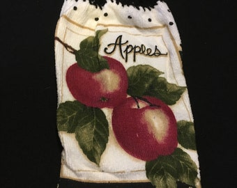 Apples with Word Single Sided Kitchen Hand Towel Black 1