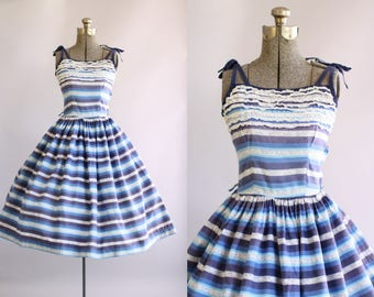 Vintage 1950s Dress / 50s Cotton Dress / Blue Striped Dress w/ Lace Trim at Neckline S