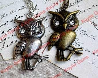 Large Baby Owl Charm Pendant Antique Silver With Chain Necklace