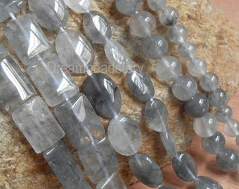Natural No Treated Gray Crystal Round/ Chunky Oval/ Pillowed Flat Rectangle Gemstone Beads