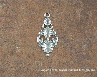 Antiqued Sterling Silver Plated Drop Earring Victorian Dapped Component (item 1140 AS) - 6 Pieces