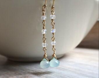 Rainbow Moonstone and Aqua Chalcedony Dangle Earrings, Wire Wrapped Moonstone Earrings, Chalcedony Earrings, Gemstone Jewelry, Gift for Her