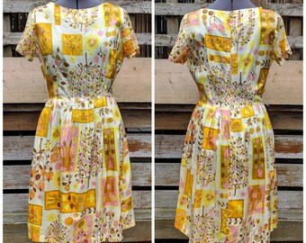 Vintage 1950's Beautiful Rayon Yellow and Pink Novelty Print on Ivory Fit and Flare Cap Sleeve Dress