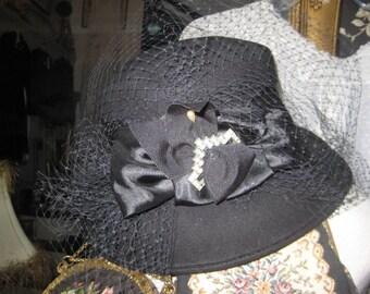Vintage 40's Style Wool Felt Formal Hatw Face Veil/Black Vintage Hat