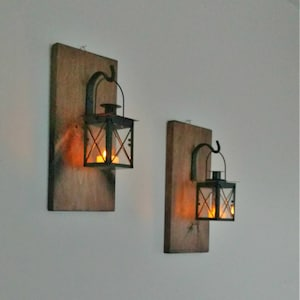 Rustic Wall Mounted Lantern Set, Rustic Decor, Farmhouse, Country Decor,  Wall Hanging