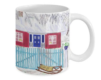 SNOW COTTAGE Blue DOORS~Coffee Mug~Gift Mug~11 oz.~Cute Breakfast Mug~Cafe Cups~Gift For Friend~Unique Christmas Present~Novelty Mug~Folkart