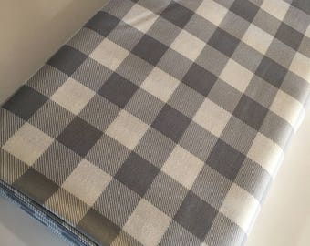 Buffalo Check fabric, Gray White Plaid, Buffalo Check Party Decor, Quilting Sewing, 1 inch Buffalo Plaid in Silver, Choose the Cut
