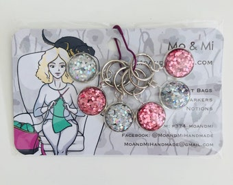 Knitting Bling Stitch Markers, Glitter Progree Keepers