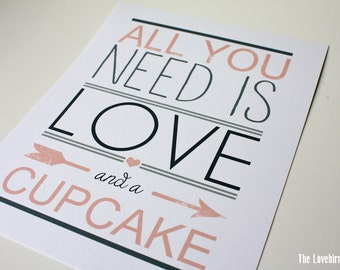 Wedding Cupcake Sign - All you need is love and a cupcake - Cupcake Sign - PDF - AA4
