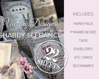 Small & Precious Shabby Elegance Pack Printable Tea Party Paper Crafting Crafts Digital Download - VDSPSC1658
