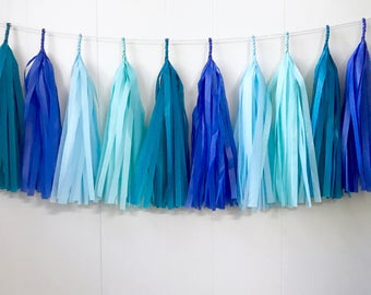 Free Shipping - Cobolt Light Blue Aqua and Teal Tassel Garland - Wedding Decor - Room decor - Nursery Decor - Photo Prop